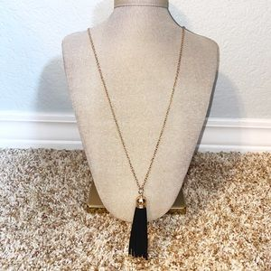 Black and Gold Tassel Pendant Necklace